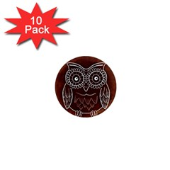 Owl Abstract Funny Pattern 1  Mini Magnet (10 Pack)  by Nexatart