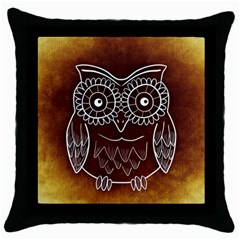 Owl Abstract Funny Pattern Throw Pillow Case (black) by Nexatart