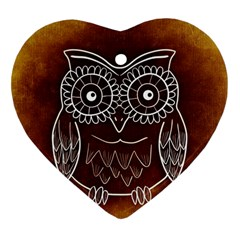 Owl Abstract Funny Pattern Heart Ornament (two Sides) by Nexatart