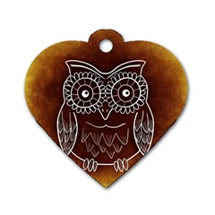 Owl Abstract Funny Pattern Dog Tag Heart (one Side) by Nexatart