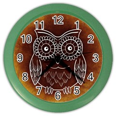 Owl Abstract Funny Pattern Color Wall Clocks by Nexatart