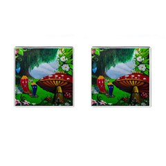 Kindergarten Painting Wall Colorful Cufflinks (square) by Nexatart
