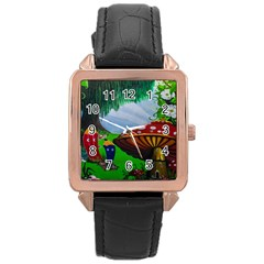 Kindergarten Painting Wall Colorful Rose Gold Leather Watch