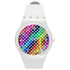Pattern Template Shiny Round Plastic Sport Watch (m) by Nexatart