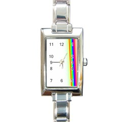 Rainbow Side Background Rectangle Italian Charm Watch by Nexatart