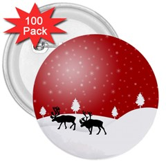 Reindeer In Snow 3  Buttons (100 Pack)  by Nexatart
