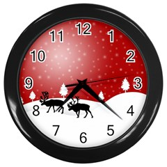 Reindeer In Snow Wall Clocks (black)