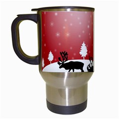 Reindeer In Snow Travel Mugs (white)