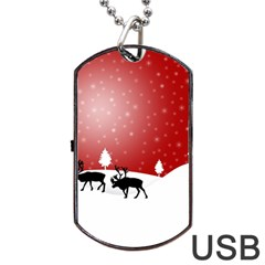 Reindeer In Snow Dog Tag Usb Flash (two Sides) by Nexatart