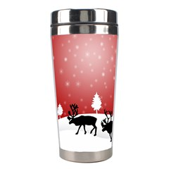 Reindeer In Snow Stainless Steel Travel Tumblers by Nexatart