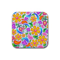 Floral Paisley Background Flower Rubber Coaster (square)  by Nexatart