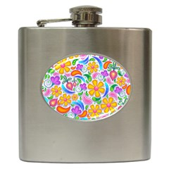 Floral Paisley Background Flower Hip Flask (6 Oz) by Nexatart