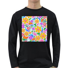 Floral Paisley Background Flower Long Sleeve Dark T-shirts by Nexatart