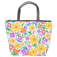 Floral Paisley Background Flower Bucket Bags by Nexatart