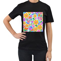 Floral Paisley Background Flower Women s T Shirt (black) by Nexatart