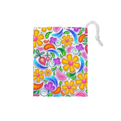 Floral Paisley Background Flower Drawstring Pouches (small)  by Nexatart