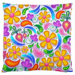 Floral Paisley Background Flower Large Flano Cushion Case (two Sides) by Nexatart