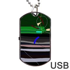 Abstraction Dog Tag Usb Flash (one Side) by Valentinaart