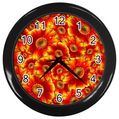 Gerbera Flowers Blossom Bloom Wall Clocks (black) by Nexatart