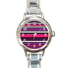 Stripes Colorful Background Round Italian Charm Watch by Nexatart