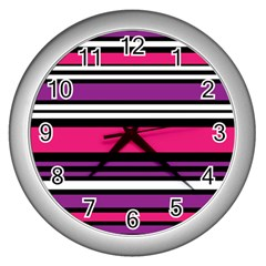 Stripes Colorful Background Wall Clocks (silver)