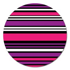 Stripes Colorful Background Magnet 5  (round) by Nexatart