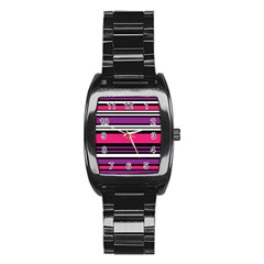 Stripes Colorful Background Stainless Steel Barrel Watch