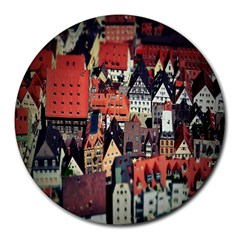 Tilt Shift Of Urban View During Daytime Round Mousepads