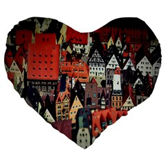 Tilt Shift Of Urban View During Daytime Large 19  Premium Heart Shape Cushions by Nexatart