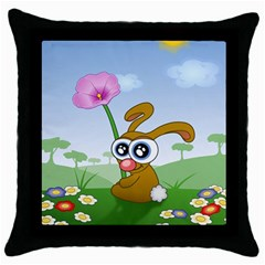 Easter Spring Flowers Happy Throw Pillow Case (black) by Nexatart