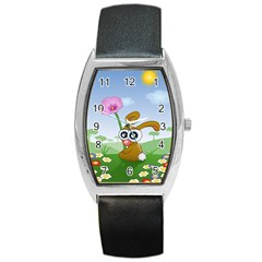 Easter Spring Flowers Happy Barrel Style Metal Watch by Nexatart