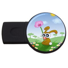 Easter Spring Flowers Happy Usb Flash Drive Round (4 Gb) by Nexatart