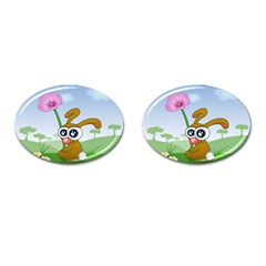 Easter Spring Flowers Happy Cufflinks (oval)