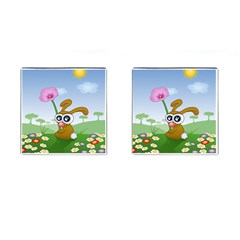 Easter Spring Flowers Happy Cufflinks (square) by Nexatart