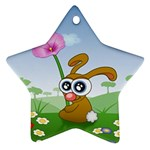 Easter Spring Flowers Happy Star Ornament (Two Sides) Back