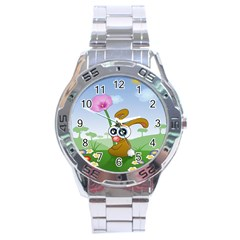 Easter Spring Flowers Happy Stainless Steel Analogue Watch