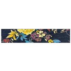Deep Blue Vintage Flowers Flano Scarf (small) by Brittlevirginclothing