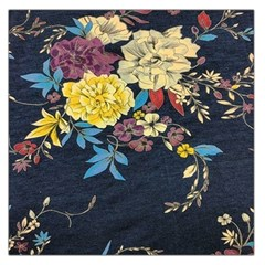 Deep Blue Vintage Flowers Large Satin Scarf (square) by Brittlevirginclothing