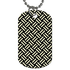 Woven2 Black Marble & Beige Linen Dog Tag (one Side) by trendistuff