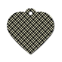Woven2 Black Marble & Beige Linen Dog Tag Heart (two Sides) by trendistuff