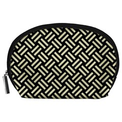 Woven2 Black Marble & Beige Linen Accessory Pouch (large) by trendistuff