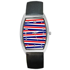 Red White Blue Patriotic Ribbons Barrel Style Metal Watch by Nexatart
