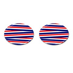 Red White Blue Patriotic Ribbons Cufflinks (oval) by Nexatart