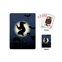 Halloween Card With Witch Vector Clipart Playing Cards (mini)