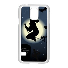 Halloween Card With Witch Vector Clipart Samsung Galaxy S5 Case (white) by Nexatart