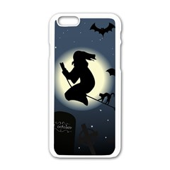 Halloween Card With Witch Vector Clipart Apple Iphone 6/6s White Enamel Case by Nexatart