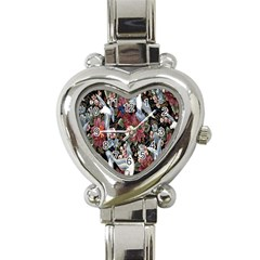 Quilt Heart Italian Charm Watch by Nexatart