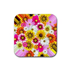 Flowers Blossom Bloom Nature Plant Rubber Square Coaster (4 Pack)  by Nexatart