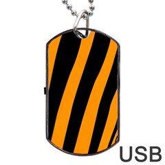 Tiger Pattern Dog Tag Usb Flash (one Side) by Nexatart