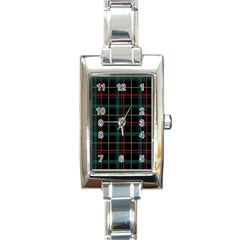 Plaid Tartan Checks Pattern Rectangle Italian Charm Watch